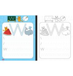 Alphabet tracing worksheet vector