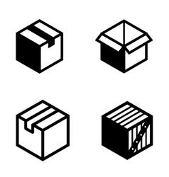 black boxs pictogram icons set vector image
