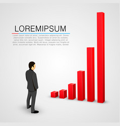 businessman look at growing chart vector image