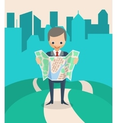 Businessman with a map vector
