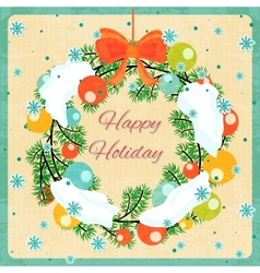 Christmas wreath with Christmas balls and snow vector image