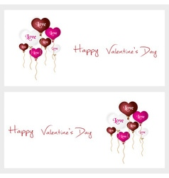 Colorful helium balloons heart shape valentine vector