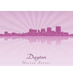 Dayton skyline in purple radiant orchid vector