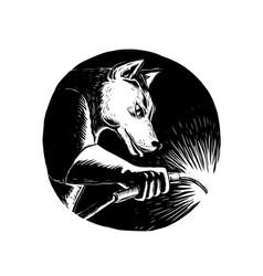 Dingo dog welder scratchboard vector