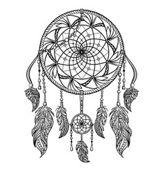 dream catcher with ornament tattoo art vector image vector image