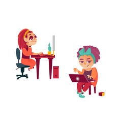 Flat girl using pc kid with laptop vector