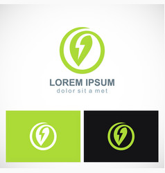 green leaf energy bolt logo vector image vector image