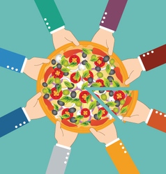Group of business man eating pizza together vector