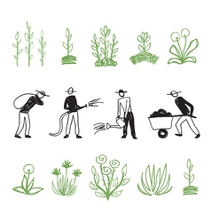 Hand drawn farming men vector