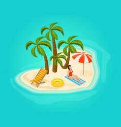 isometric island vacation concept vector image vector image