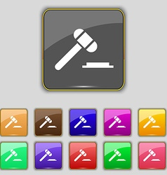 Judge or auction hammer icon sign set with eleven vector