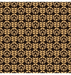 Pattern with gold flower on black background vector image