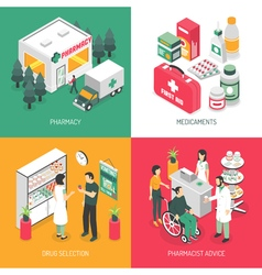 Pharmacy 4 Isometric Icons Square vector image vector image