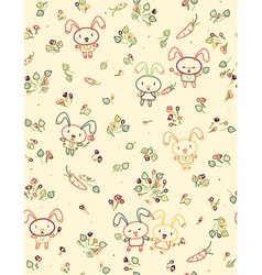 Rabbit pattern floral vector