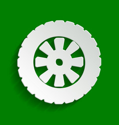 Road tire sign paper whitish icon with vector