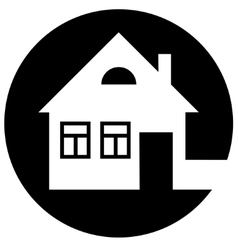 Round home icon with chimney and window vector