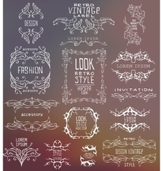 Set of calligraphic and floral vector image