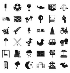 Small playground icons set simple style vector