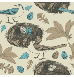 Spring background Birds and eggs vector image