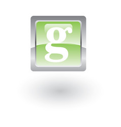 square glossy icon letter g vector image