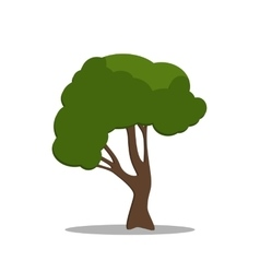 Stylized green tree in cartoon style vector image vector image