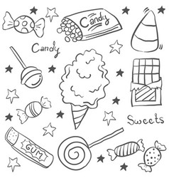 Sweet candy sketch doodle style vector
