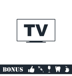 Tv icon flat vector