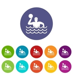 Water polo set icons vector