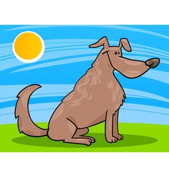 Cute sitting dog cartoon vector