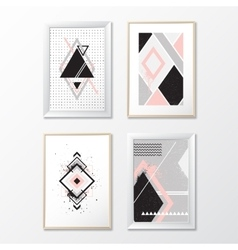 Set frames with geometric pictures vector