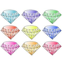 Different colors of diamonds vector