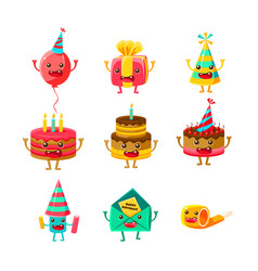 Happy birthday and celebration party symbols vector