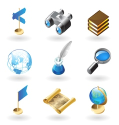 Isometric-style icons for geography vector