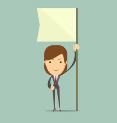 businesswoman holding white flag place for text vector image