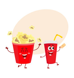 Cinema popcorn and soda water characters with vector