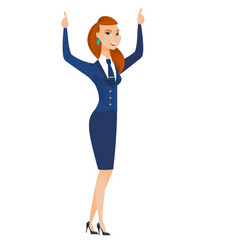 Stewardess standing with raised arms up vector