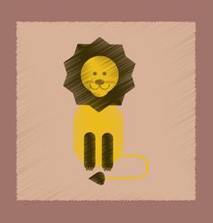 flat shading style icon cartoon lion vector image