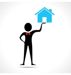 Man holding a home icon vector