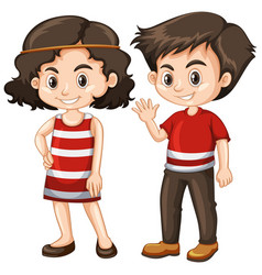 Two happy kids with big smile vector