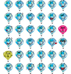 Set of blue hot air balloon character emojis vector