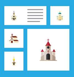 Flat icon church set of traditional building vector