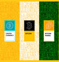 Line bitcoin patterns set vector