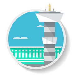 Logistics icon with airport terminal vector