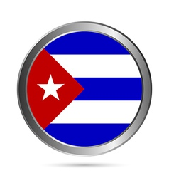 Cuba flag button vector