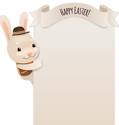 Happy easter bunny looking at blank poster vector