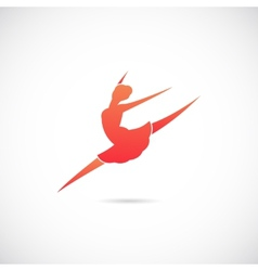 Ballet dancer silhouette symbol icon or label vector