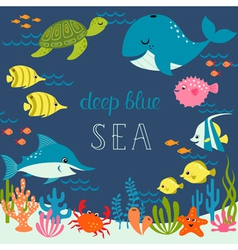 Cute deep blue sea vector