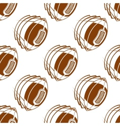 Flying rugby balls seamless pattern vector image