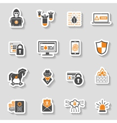 Internet security icon sticker set vector