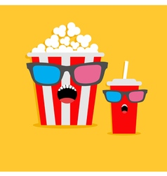 Popcorn box and soda glass screaming characters in vector